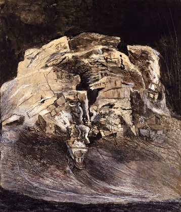 Graham Sutherland, Limestone Quarry, Working at the Cliff Face, 1943