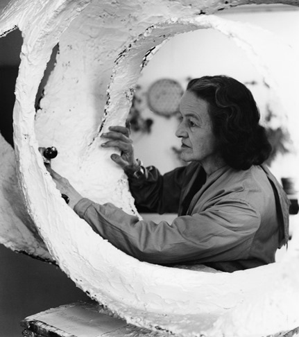 Barbara Hepworth - At work on the plaster for Oval Form (Trezion)