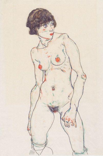 Egon_Schiele_-_Stehender_weiblicher_Akt_mit_Strümpfen_-_1914