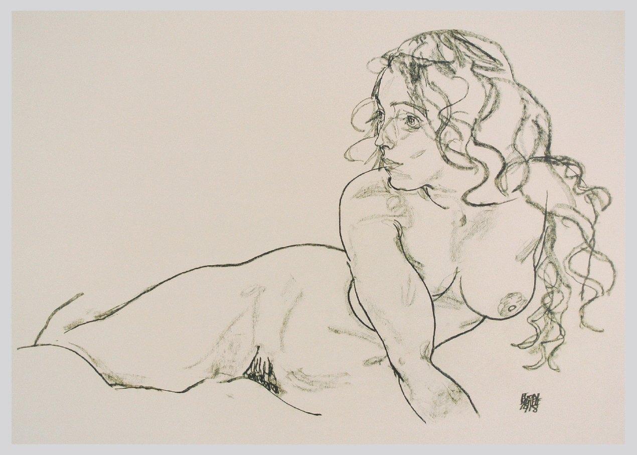 Schiele_-_Sich_aufstützender_weiblicher_Akt_mit_langem_Haar_-_1918