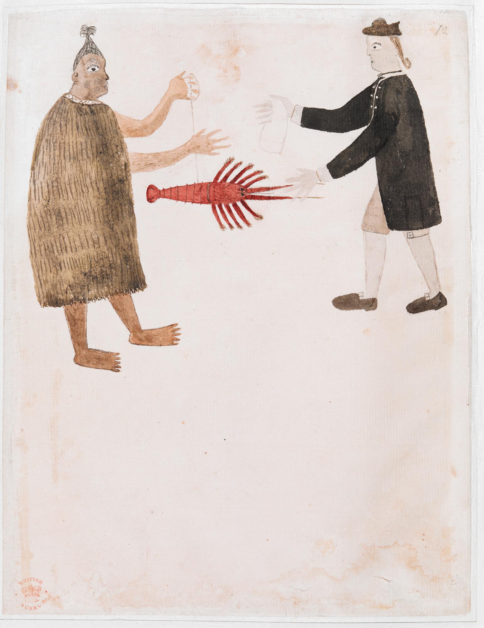 Maori trading a crayfish with Joseph Banks add_ms_15508 - 12