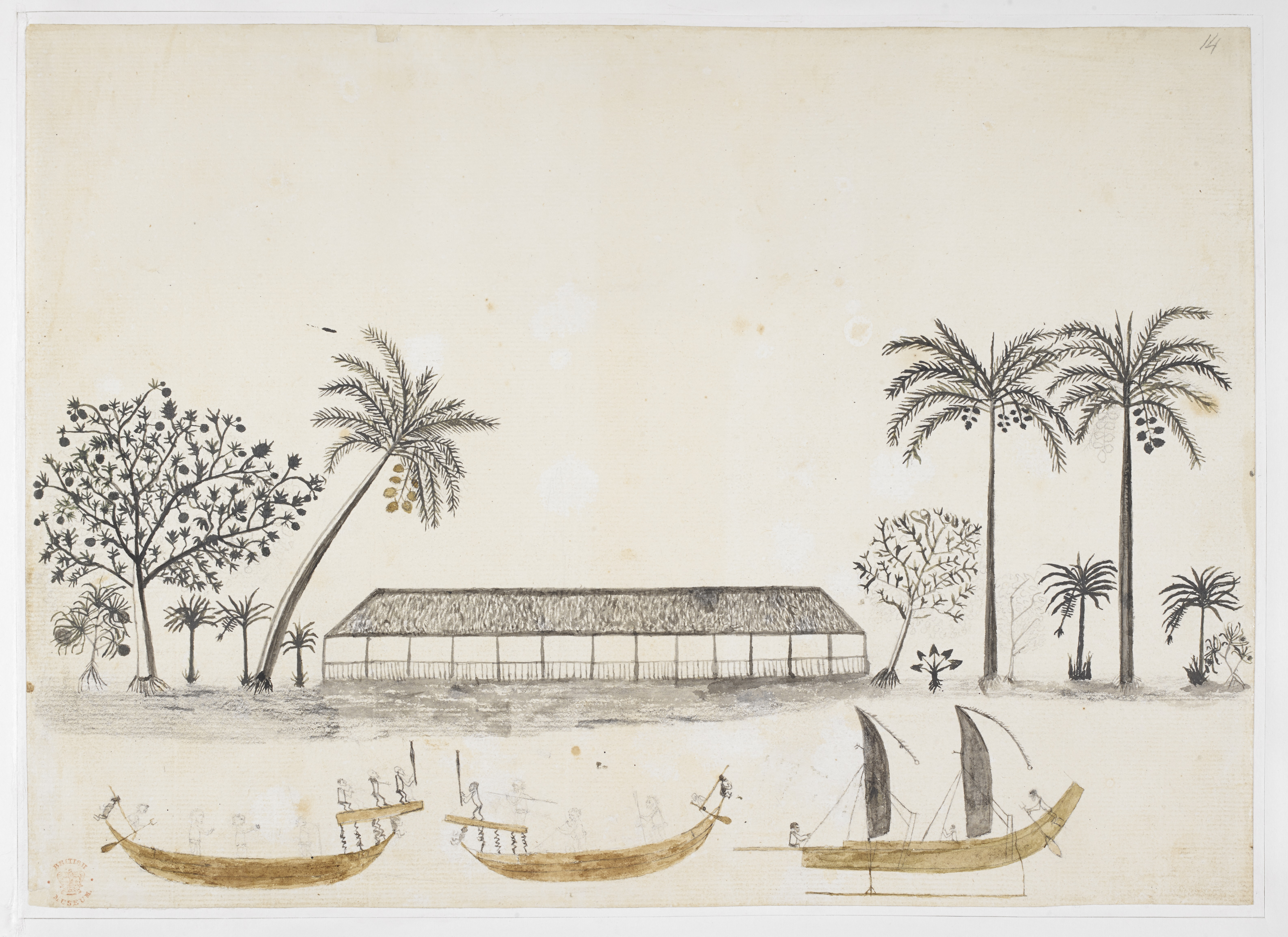 Tupaia Longhouse and Canoes in Tahiti